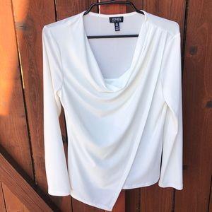 Jones New York women's S cream cascading blouse